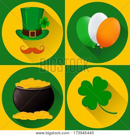 St. Patrick's day set of icons. Green hat and mustache balloon in national Irish colors pot full of gold and four-leaf clover. Flat style with long shadow. Vector illustration