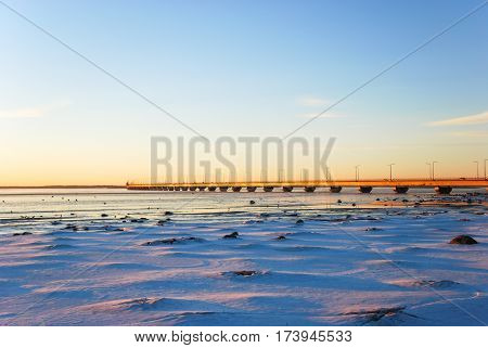 Winter view at the Oland Bridge - connecting the swedish island Oland in the Baltic Sea with mainland Sweden
