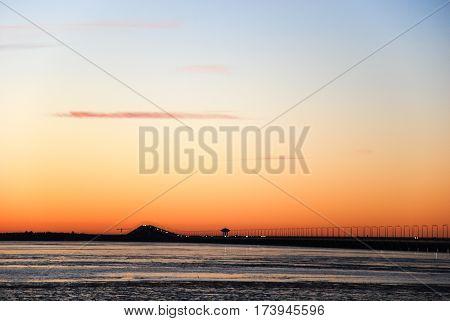 Twilight view at the swedish Oland Bridge in the Baltic Sea