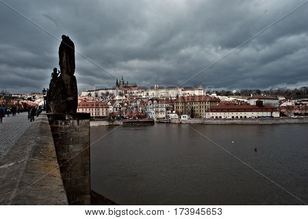 Prague Czech Republic-March 1 2017: View of Prague Castle from the embankment at the Charles Bridge in Prague