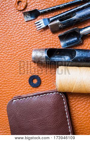 Handmade Leather Man Wallet With Tool