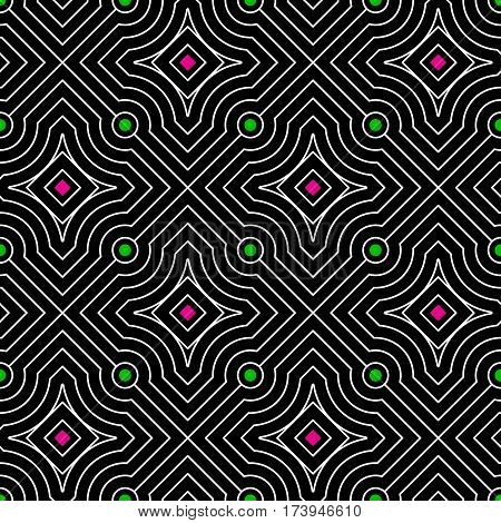 Abstract vector seamless moire pattern with waving circle lines. Monochrome op art, graphic with color points. Black and white ornament. Rhombus repeating texture.
