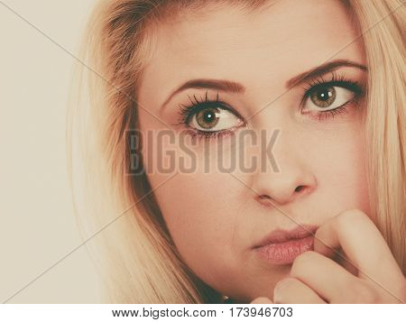 Attractive Blonde Woman Thinking And Contemplating