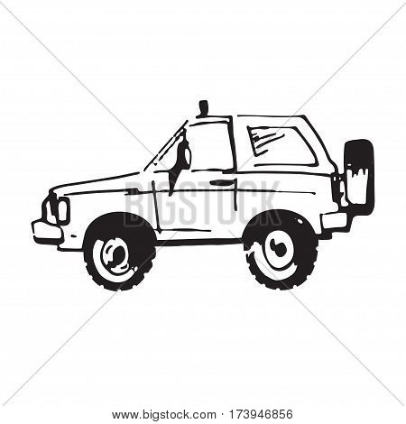 Vector illustration of suv car in sketch style. Hand sketched off-road vehicle icon