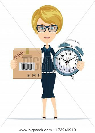 Express Cargo Delivery Icon.Time management and special delivery with businesswoman. Business character holding cardboard box and clock . Isolated on white background. Stock vector illustration