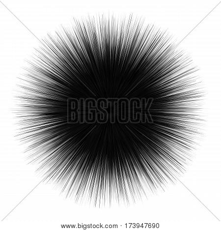 Abstract unusual prickly shape. Abstract fuzzy dark element isolated on white background. Decorative spiky round form. Geometric vector illustration.