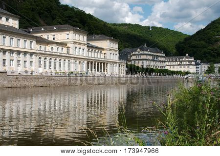 Beautiful view of a bathing resort Bad Ems and its reflection in the river Lahn