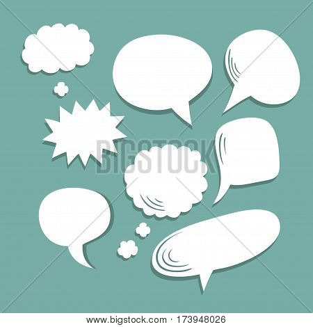 Vector set of different comic speech bubbles in trendy flat style