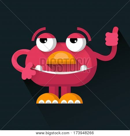 Vector cute pink funny Monster in trendy flat style