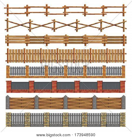 Different seamless wooden and brick fences designes on white background. Boundary for farm or country house. Modern flat style. Isolated vector illustration.