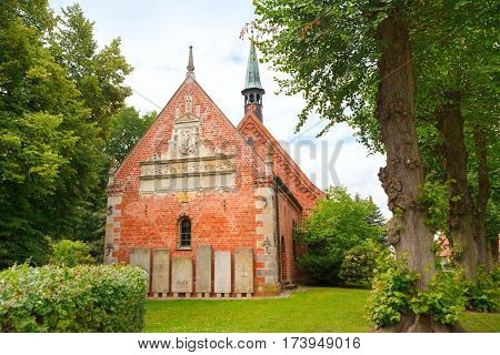 Haseldorf Germany-June 24 2011:Church of St. Gabriel. Church of the thirteenth century built of red brick