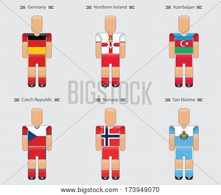 soccer (football) player flag europe uniform icon group c. germany northern ireland azerbaijan czech republic norway san marino. vector illustration.