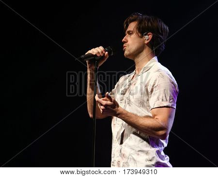 HUNTINGTON, NY-FEB 25: Aaron Tveit performs in concert at the Paramount on February 25, 2017 in Huntington, New York.