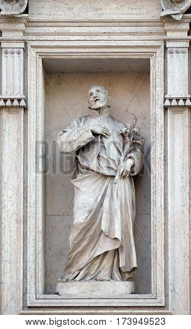 ROME, ITALY - SEPTEMBER 01: Saint Andrew Avellino statue on the portal of Sant Andrea della Valle Church in Rome, Italy on September 01, 2016.