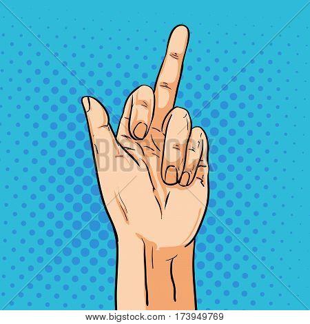 Vector hand shoving middle finger. Illustration in pop art comic style