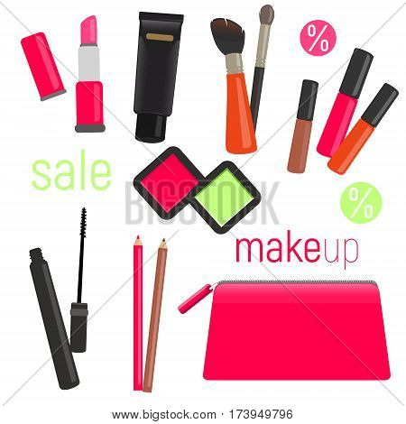 Sets of cosmetics on isolated background. Cosmetic bag with tools for professional make-up: lipstick, mascara, eyeshadow and cosmetic brush. Vector illustration.