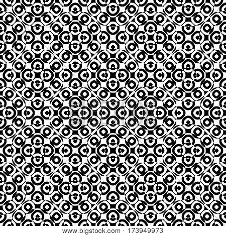 Vector monochrome seamless texture, specular geometric pattern, repeat tiles. Black & white overlay circles. Illusive optical effect. Design element for tileable print, decoration, textile, digital