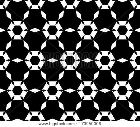 Vector monochrome texture, simple dark geometric seamless pattern. Symmetric hexagonal grid, perforated hexagons, rhombuses. Abstract black & white background. Design for prints, decoration, textile, cover, fabric, furniture