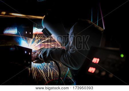 Welding work for steel fabrication and production at the industrial factory heavy industrial work concept.