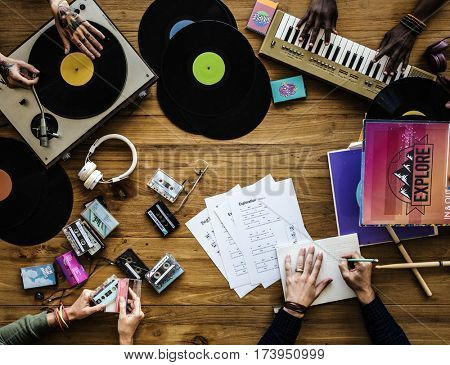 Group of DJ mixing the classic oldschool music vinyl record