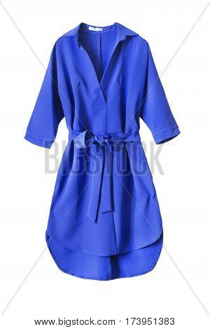 Blue dress with tied bow belt isolated over white