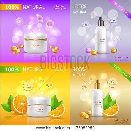 Cream natural series banners set. Set of white tubes for cosmetics. Product for body, skin and face care. Vitamin A and C. User choice. Cream with orange and proteins. Vector illustration.