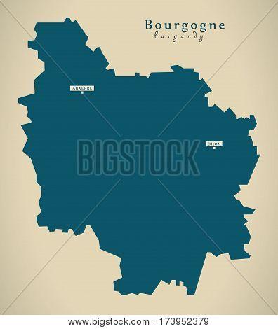 Modern Map - Bourgogne France Fr Illustration