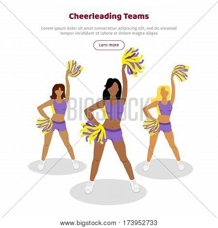 Cheerleading teams web banner. Cheerleader girls with pompoms. Dancing to support football team during competition. Violet and yellow cheerleader uniform. High school cheerleading costume. Vector
