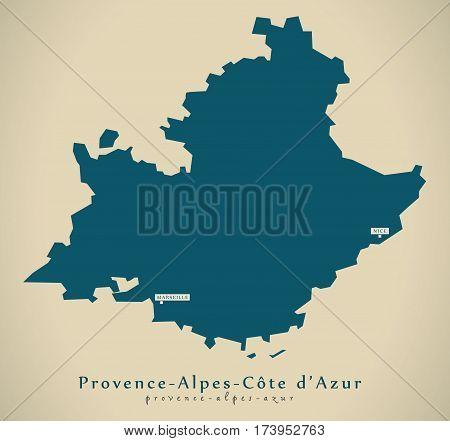 Modern Map - Provence Alpes-cote D Azur France Fr Illustration