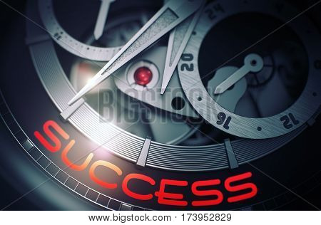 Success on the Face of Fashion Wristwatch, Chronograph Closeup. Time and Business Concept with Lens Flare. 3D Rendering.