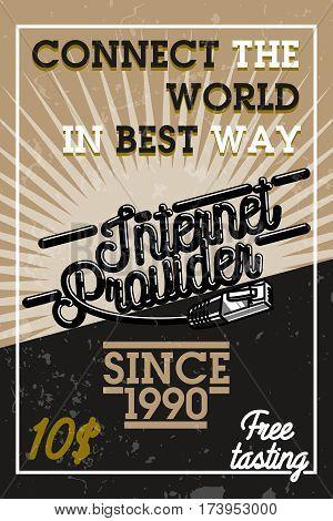 Color vintage internet provider banner. Internet service concept