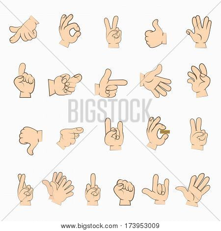 Hands set in different gestures isolated on white. Human hands interpretations. Emotions expressed by sign language. Signed language manual communication to convey meaning. Vector illustration
