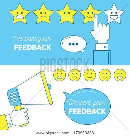 Feedback Emoticon Scale Banners.