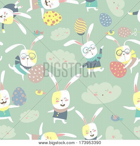 Easter bunnies and easter eggs seamless pattern