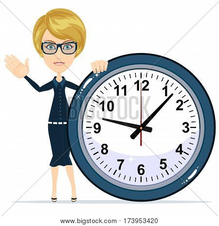 Woman Holding Clock, Time management concept with businesswoman character. Isolated on white background. Stock vector illustration