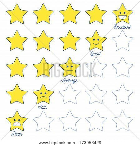 Feedback Emoticon Star Scale.