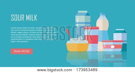 Different traditional dairy products from sour milk on blue background. Sour milk, cottage cheese and yogurt. Assortment of dairy products. Farm food. Dairy website template.