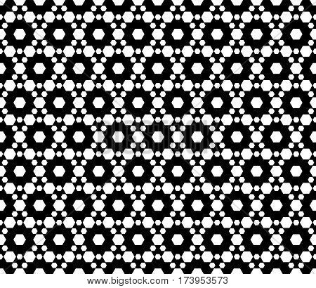 Vector monochrome seamless pattern. Simple modern geometric texture with small hexagons. Pattern with hexagonal grid lattice. Repeat black & white abstract background. Design for print decor web