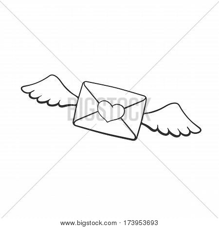 Vector illustration. Hand drawn doodle of flying closed envelope with wax heart heart and wings. Not read incoming message. Cartoon sketch. Decoration for greeting cards posters emblems
