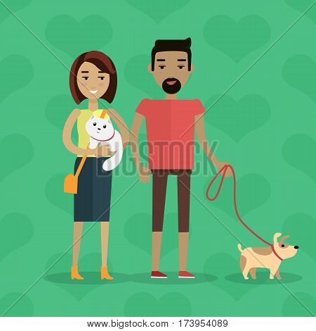 Walking with pets vector concept. Flat design. Young caucasian woman with cat on hands stroll with black man with dog on leash. Care of domestic animals. On green background with hearts