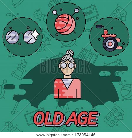 Old age flat concept icons. Vector illustration, EPS 10
