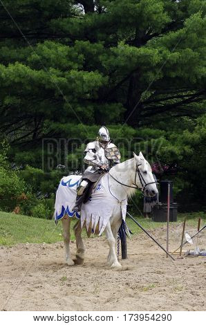 Knight in shining amour on white horse