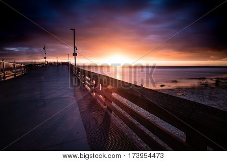Sunset at Newport Beach Pier with Clouds