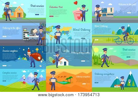 Set of icons with postman characters and mail boxes. Mailman bringing common and love letters, bicycle, hurrying. Collection of various postboxes different in shape, colour, size. Vector illustration