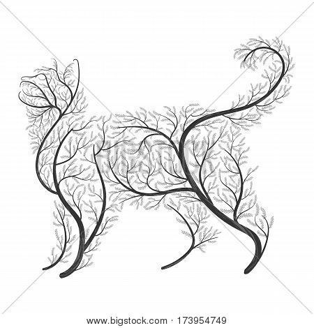 Farm animals. Stylized bushes housecat. For use as logos on cards in printing posters invitations web design and other Farm animals. purposes.