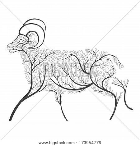 Farm animals. Stylized bushes domestic ram. For use as logos on cards in printing posters invitations web design and other Farm animals. purposes.