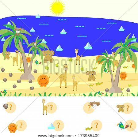 mystery find a children's game and count animals vector illustration