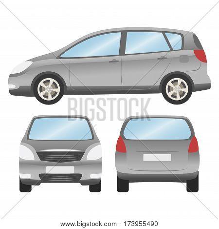 Car Vector Template On White Background. Hatchback Isolated. Business Design, Grey Hatchback Car.