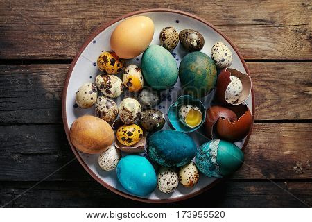 Colored Easter blue brown chicken and quail eggs, whole and broken with yolk in shell in spotted plate over old wooden textured background. Top view with space