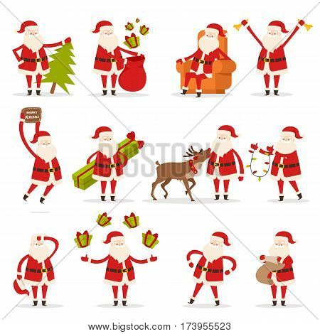 Santa Claus activities set. Santa with New Year tree, bag with presents, rest in armchair, ring in bells, wish Merry Christmas, give and juggle gift boxes, speak with deer, read and decorate. Vector